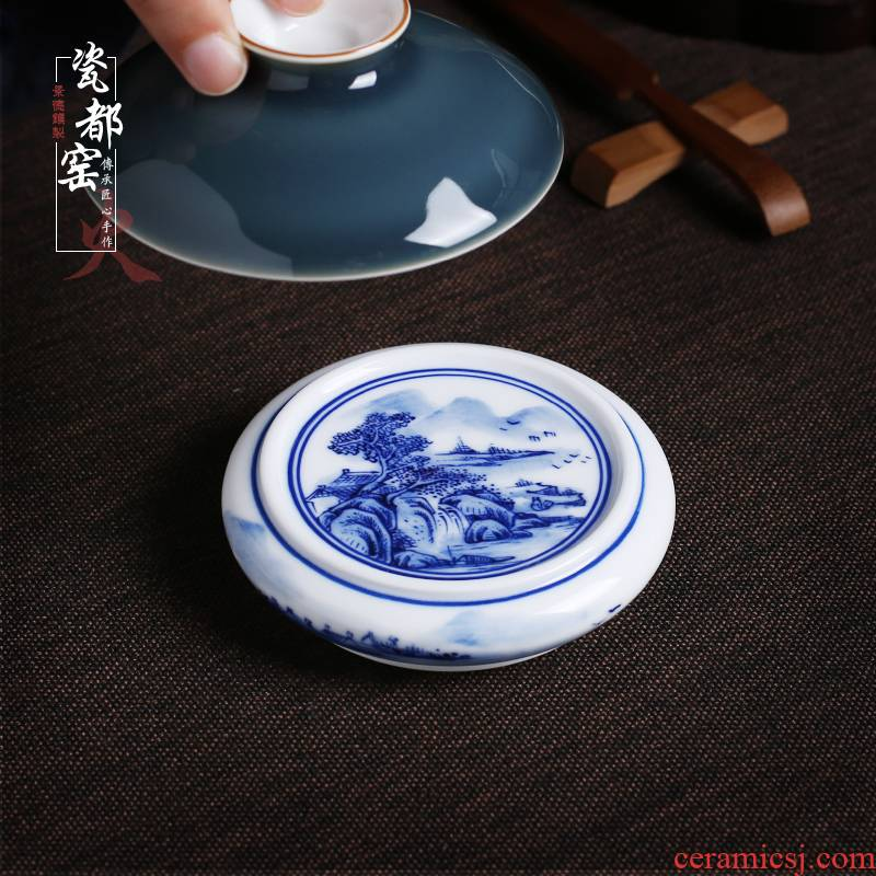 Jingdezhen up the fire which is checking ceramic hand - made porcelain cover set pot holder cover kung fu tea accessories cup mat