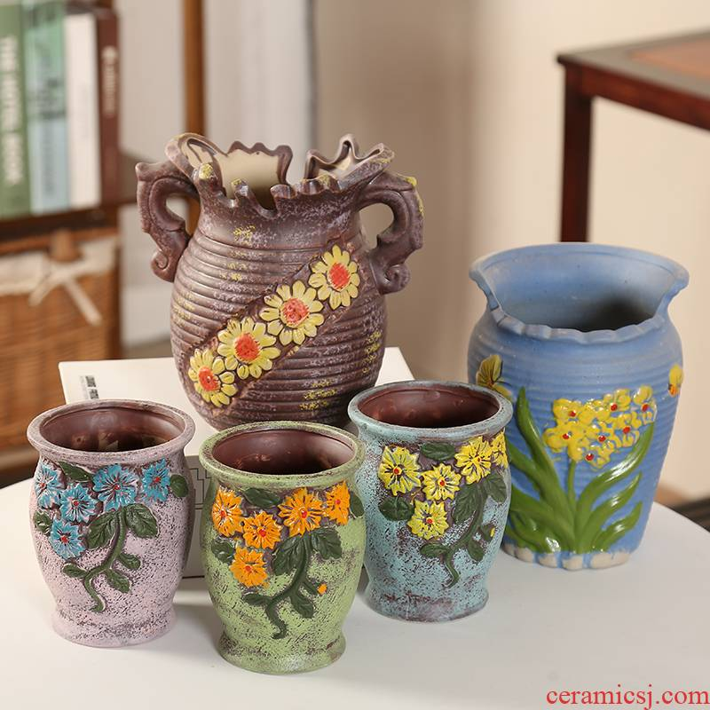 An old running the coloured drawing or pattern the mage, fleshy flowerpot ceramic oversized meat meat zhuang zi) ceramic Korean style restoring ancient ways