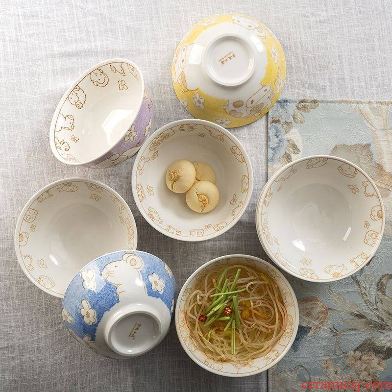 Hand made Japanese ceramics single use household good lovely children 12 zodiac noodles bowl of l