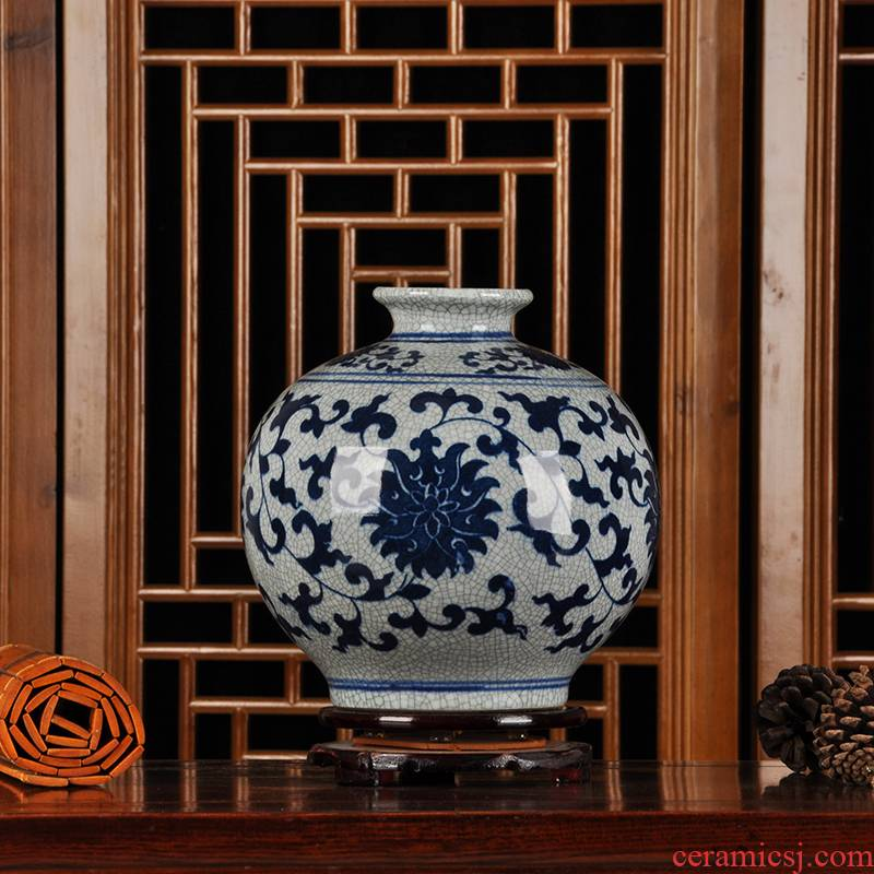 Jingdezhen blue and white Chinese style household decorative crafts antique ceramics up crack pomegranate flower vase furnishing articles