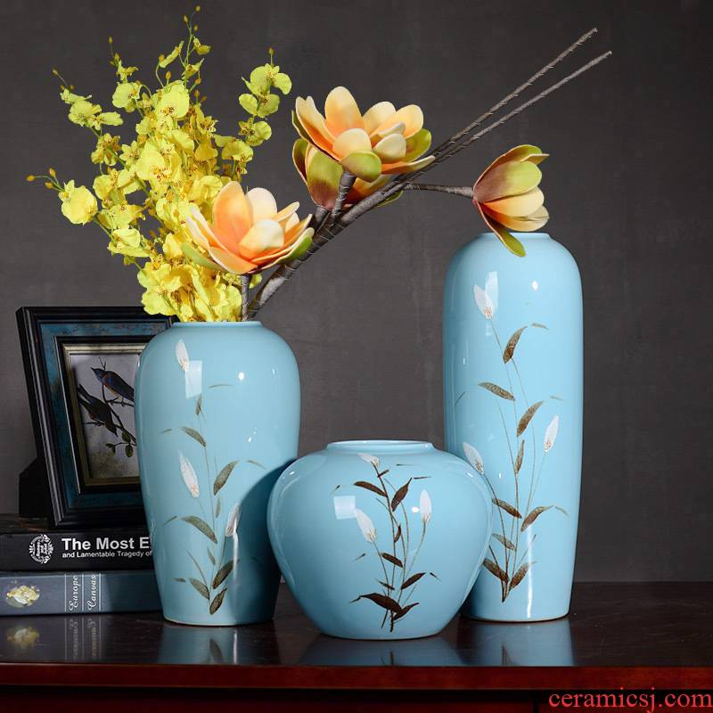 Contracted and I household ceramics creative little fresh Chinese vase lucky bamboo flower arrangement sitting room ground adornment furnishing articles