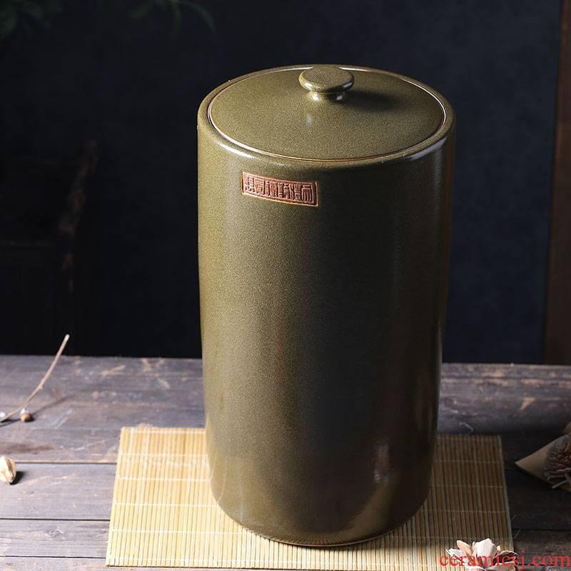 Jars of jingdezhen ceramic cylinder tank 20-40 kg jar ceramic tea bucket cylinder oil seal