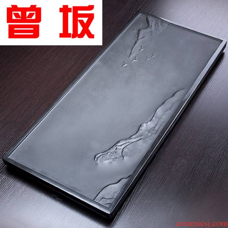 Once sitting sharply stone consolidation piece of rectangular stone tea family contracted large kung fu tea tray is big size