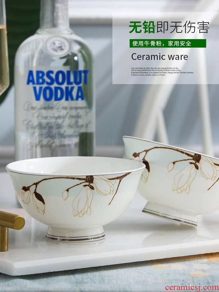 Household rice bowls of jingdezhen ceramic bowl dishes dishes suit dishes porringer single creative eat rice bowl bowl