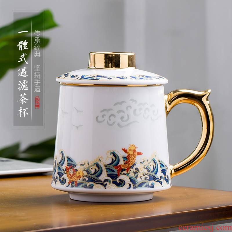 Jingdezhen up the fire which jade porcelain tea cups large capacity filter ceramic office mark cup cup with cover