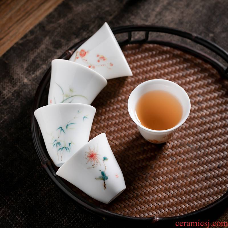 Fujian and hand - made ceramic kung fu tea cup by patterns of household sample tea cup single CPU hand Japanese tea masters cup