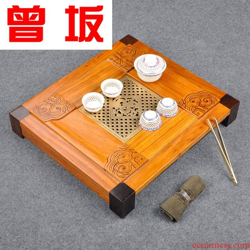 Once sitting sharply wood tea tray was large solid wood, the draw - out type drainage kung fu tea tea tea little saucer