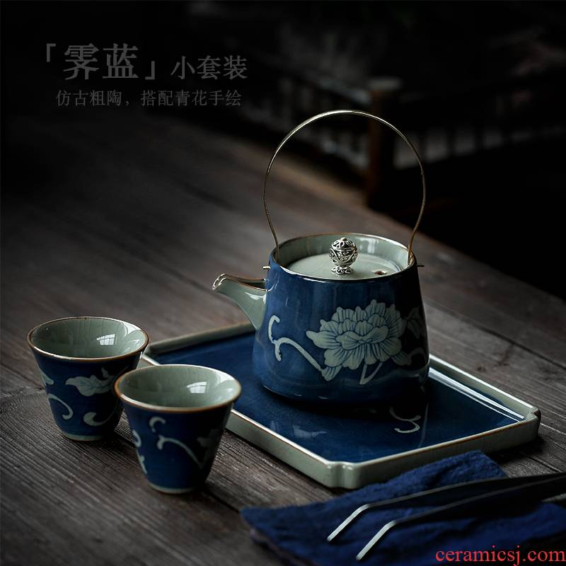 ShangYan vintage kung fu tea set suit household girder pot of tea tea tray of a complete set of tea, contracted Japanese tea set