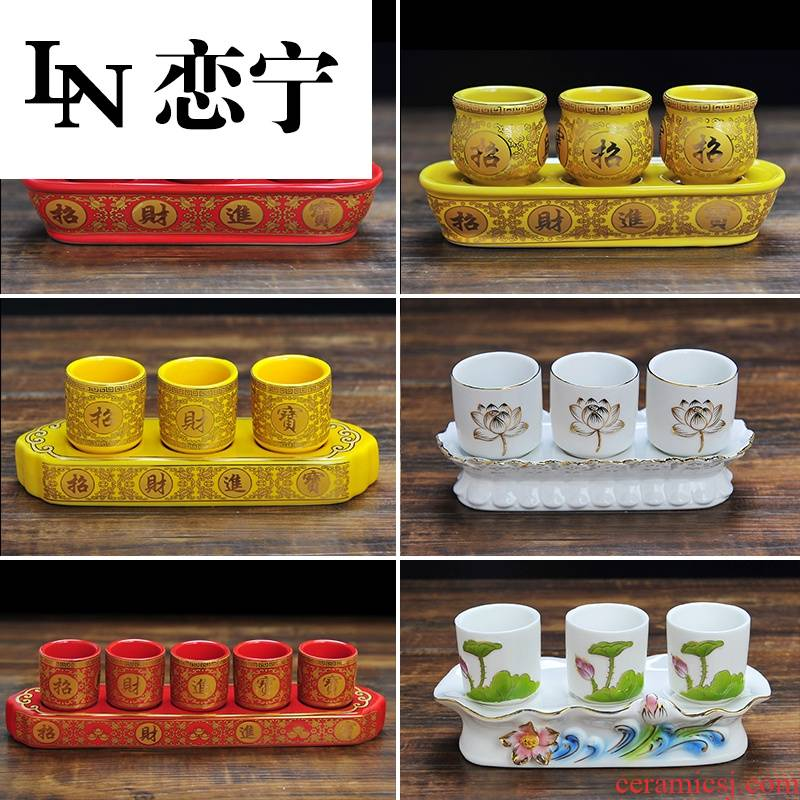 SQ20 furnishing articles temple water glass ceramics is a thriving business for lotus wine cup Buddha three cups of god of wealth for a cup of.net