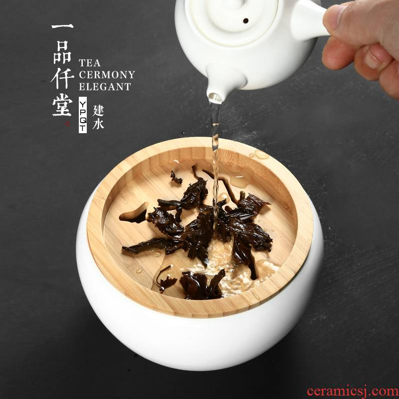 Yipin # $ceramic building water Japanese small tea wash in hot water jar bamboo cover barrels washed kung fu tea accessories