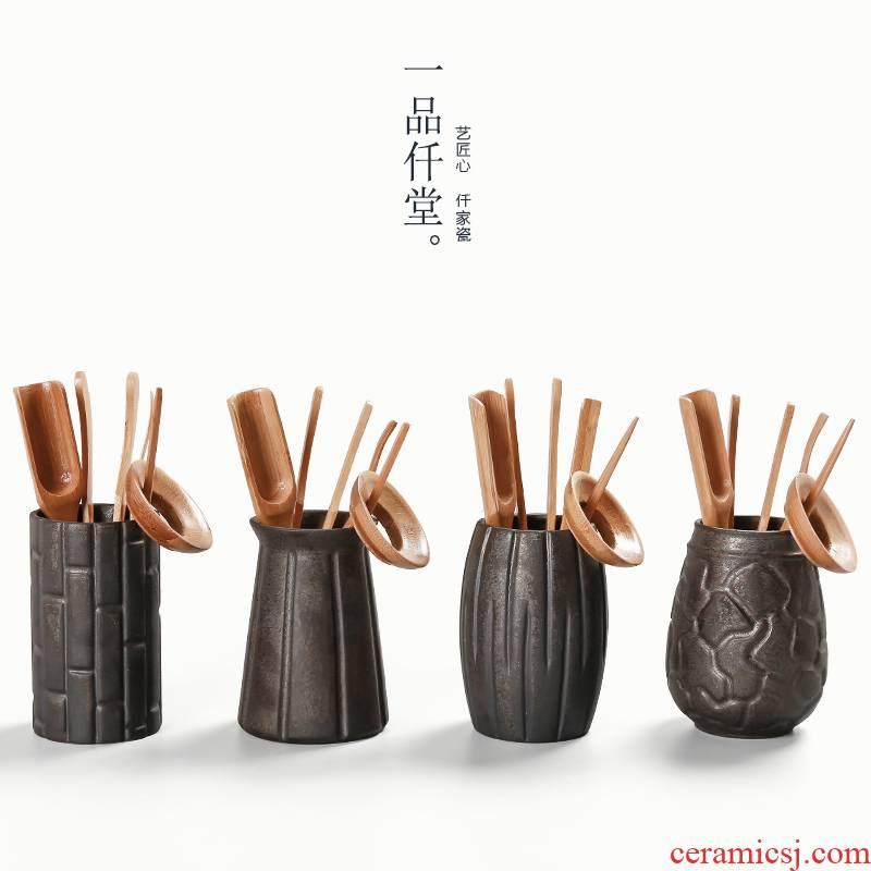 Yipin # $rust glaze ebony wood tea set tea accessories 6 gentleman kung fu tea tao tea tin