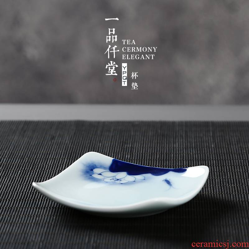 Yipin # $ceramics thickening coasters celadon hand - made heat insulation cup mat cup pot pad kung fu tea set