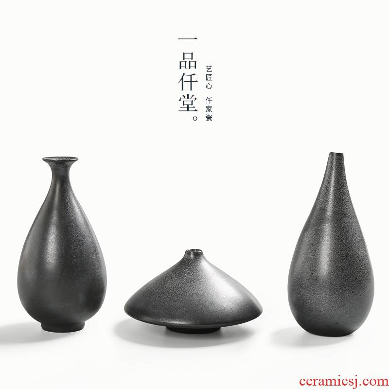 Yipin thousand don black pottery vase manual coarse some ceramic porcelain flowers, home decoration ceramic zen tea furnishing articles