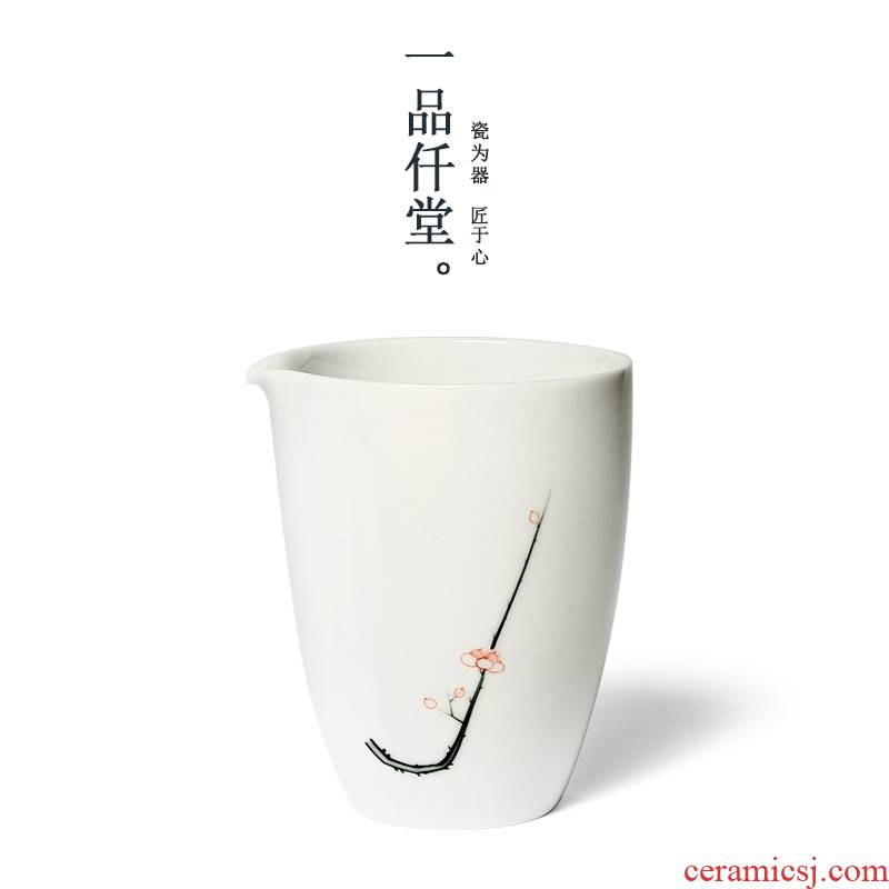 Yipin micky fair hall hand - made name plum flower, white porcelain cup under glaze color porcelain tea sea points kung fu tea cups