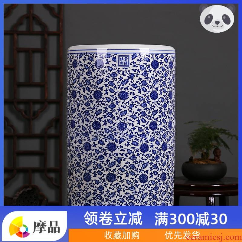 Jingdezhen checking ceramic vases, flower blue and white porcelain porcelain quiver scroll book calligraphy and painting cylinder cap tube umbrella barrel
