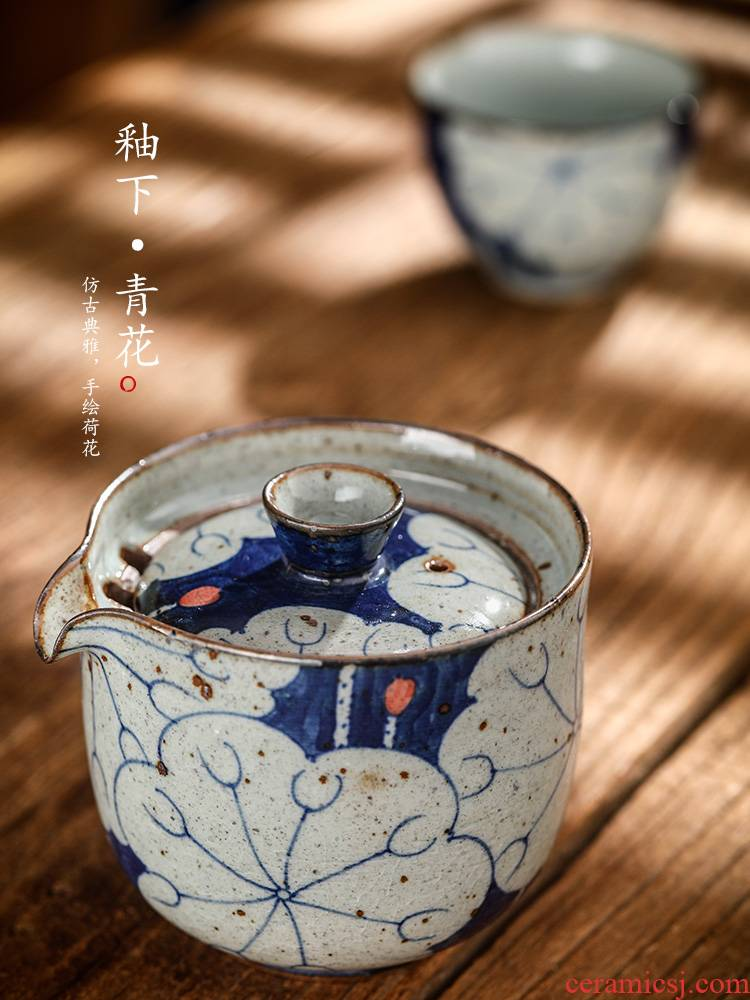 Hand grasp the teapot lid bowl of jingdezhen blue and white Hand - made kung fu tea tea ware anti hot cups suit household contracted