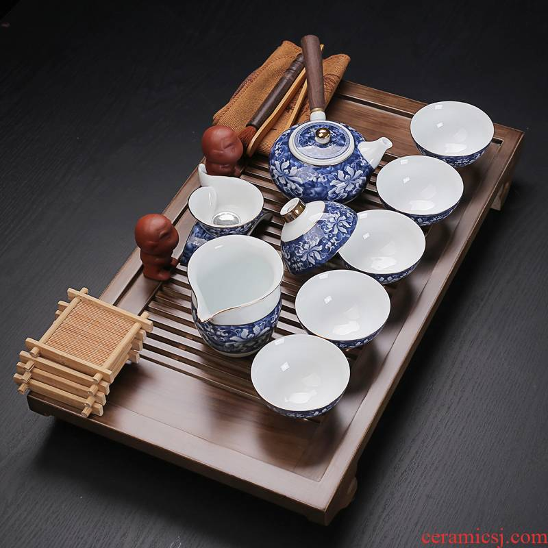 Old & suit household contracted solid wood tea tray, blue and white tea sets tea set your up kung fu ceramic cups, small case