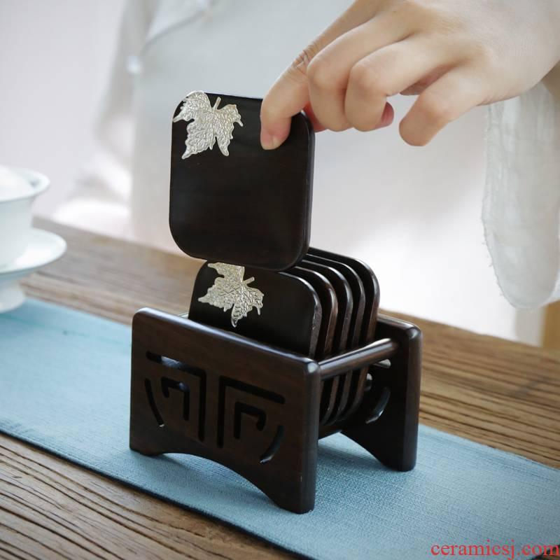 Ebony wood tea cup mat cup mat tea kung fu tea saucer combination Japanese tea accessories combination