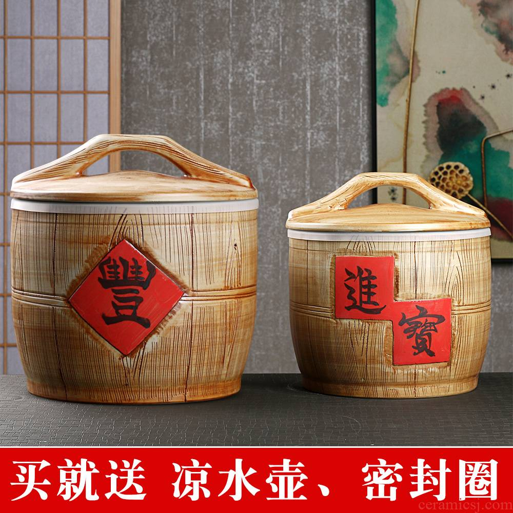 Jingdezhen ceramic barrel household sealed with cover old 10 jins 20 jins 30 imitation solid wood moisture worm ricer box