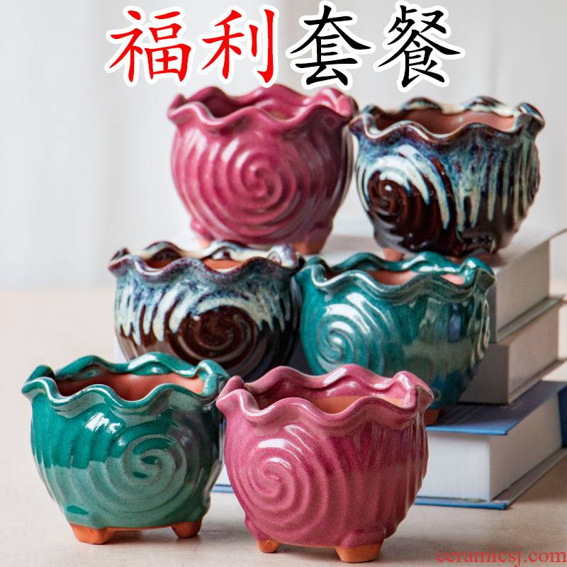 Wining four square flowerpot More than small bonsai coarse pottery meat plant in ceramic basin, special offer wholesale package mail packages