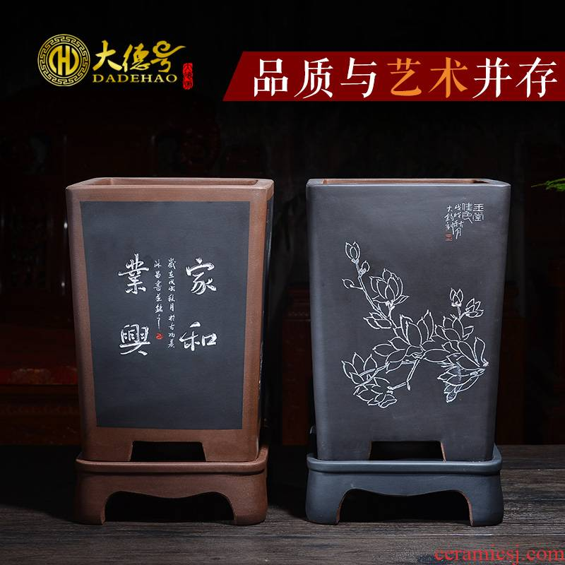 Yixing purple sand sifang extinguishers orchid flower POTS large ceramic purple Chinese wind old running the bonsai pot with tray