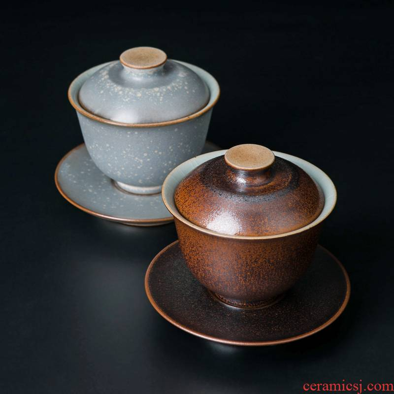 Three tureen teacup only a single red the jingdezhen ceramic bowl with a large hand tea kung fu tea tea set