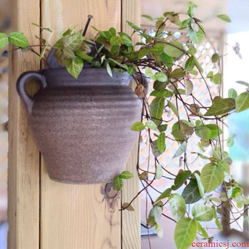 No hole, hydroponic creative Europe type restoring ancient ways a sitting room wall feel hanging rope ceramic black brown, other large flower pot