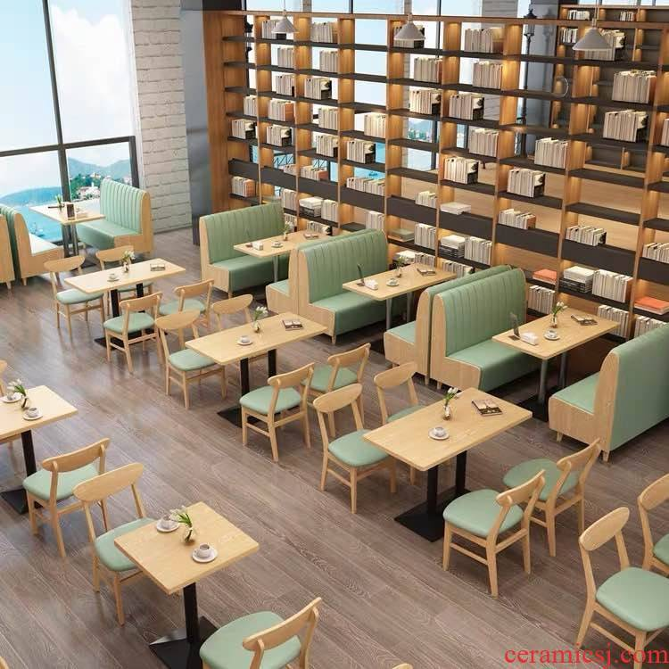 Solid wood cafe restaurant sofa chairs burger fresh sweet milk tea shop booth custom furniture combination