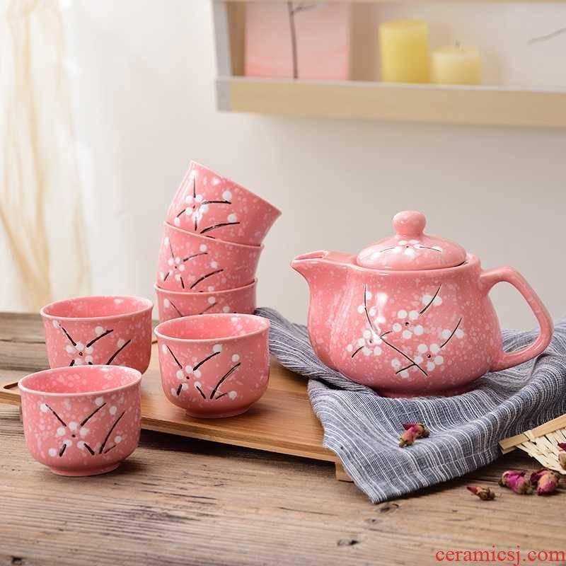 Special hand - made restaurant everyday household ceramic tea set tea tea teapot teacup set a wedding gift