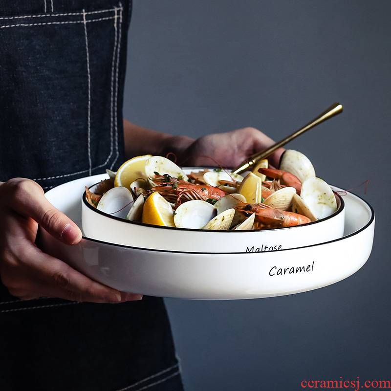 WUXIN salad plate Japanese household food fresh fish plate tableware ceramics round steak dishes soup plate deep dish