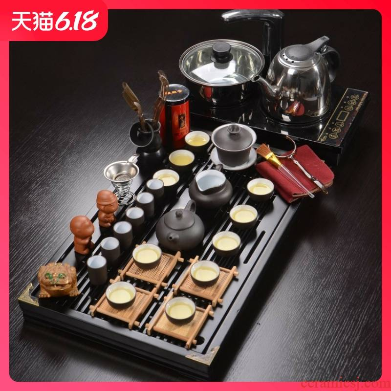 Hold to guest optimum solid wood tea tray was violet arenaceous kung fu tea sets four one gift set tea service