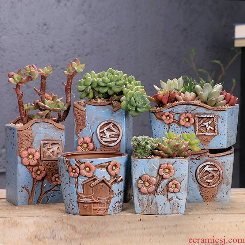 Fleshy ceramic coarse pottery flowerpot breathable ideas contracted Fleshy retro Korean big meaty plant basin clearance