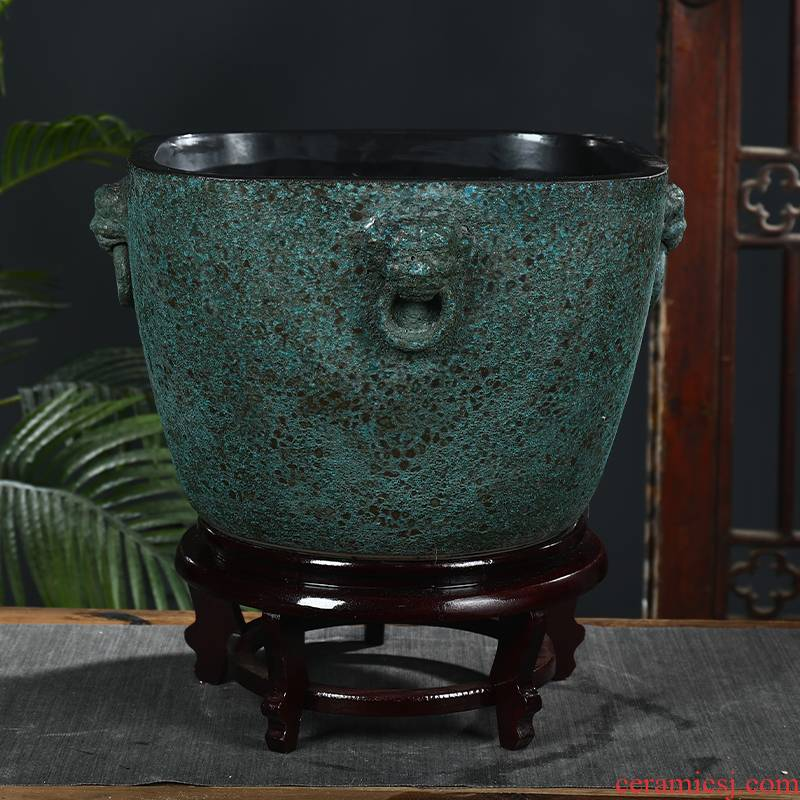 Jingdezhen ceramic square mercifully glaze tank yard large turtle cylinder fish basin water lily bowl lotus lotus