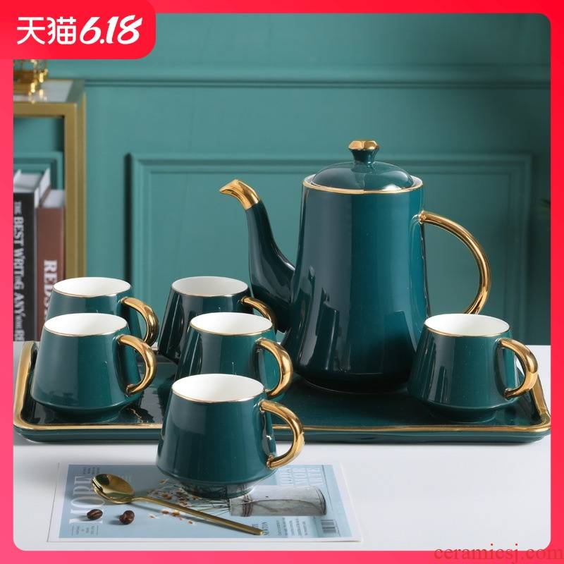 Hold to guest comfortable Nordic ins creative light coffee cup suit European tray key-2 luxury afternoon tea water drinking cup set