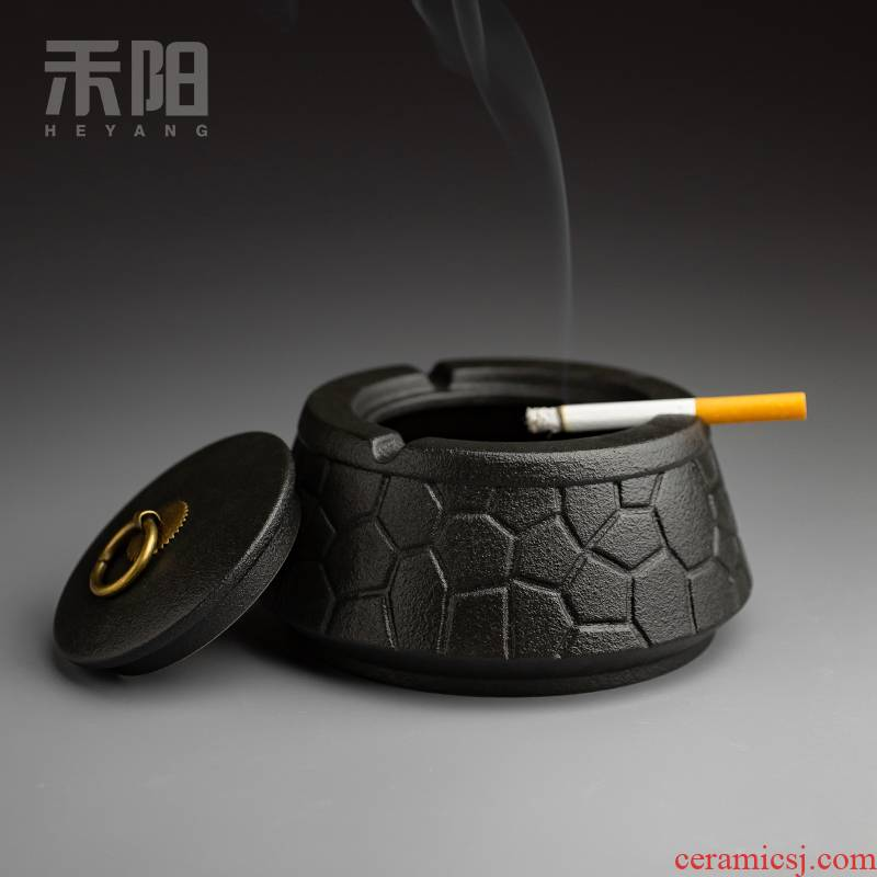 Send Yang black pottery ashtray with cover Chinese style household living room office large wind restoring ancient ways ashtray creative tea table