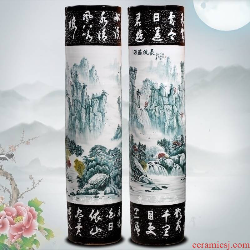 Has a long history in the hand - made pastel big quiver of jingdezhen ceramic home sitting room be born Chinese penjing big vase