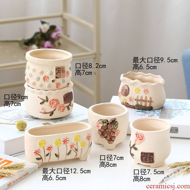 The Fleshy flowerpot ceramic special offer a clearance biscuit firing coarse pottery contracted creative move of large diameter meaty plant flower pot