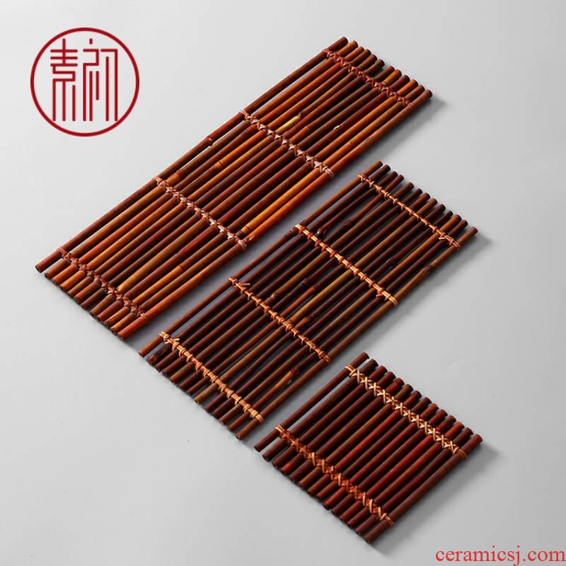 Plain tea taking the at the beginning of a bamboo raft at weave tea accessories tea shade insulation pad zizhu furnishing articles cup mat mat