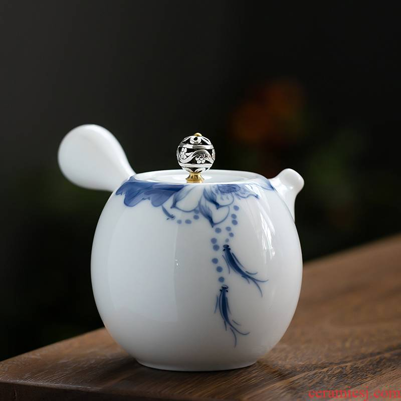 Fujian and hand made lotus ceramic teapot contracted household ball hole side put the pot of Japanese kung fu tea set small teapot