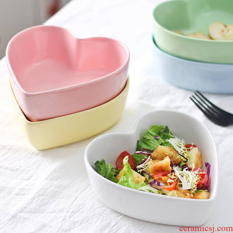 Heart - shaped bowl love steamed egg bowl of candy color ceramic bowl dessert salad bowl, lovely cake oven baked snack bowl bowl
