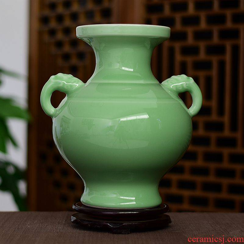 Chinese style classical jingdezhen ceramics antique vase full manual shadow green rich ancient frame home sitting room home furnishing articles