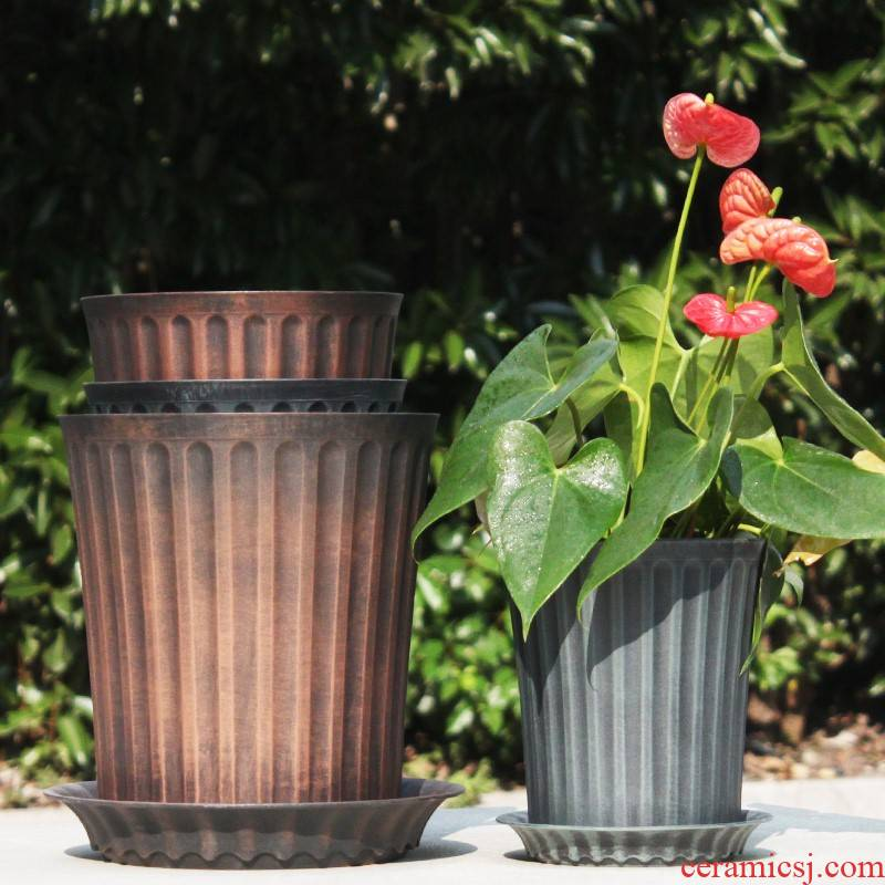 Money tree, a flower pot special - purpose high galen plastic POTS with drain more tapping gallons of second generation imitation porcelain high resin