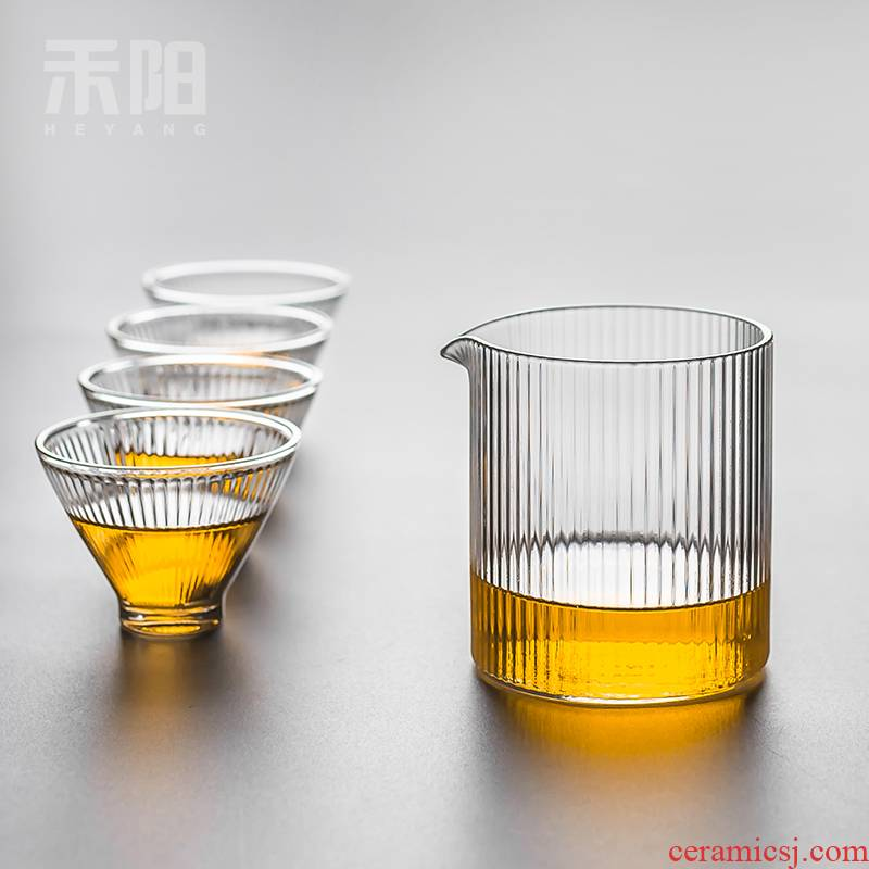 Grain and Yang refractory glass cup and cup upset points fair keller of tea ware fittings of high heat - resistant borosilicate kung fu tea set