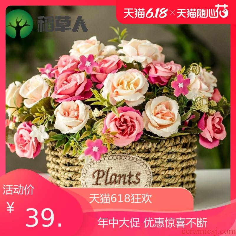 Furnishing articles flowers, potted plant simulation on the refrigerator dry flowers sitting room tea table plastic plastic flower decoration interior decoration
