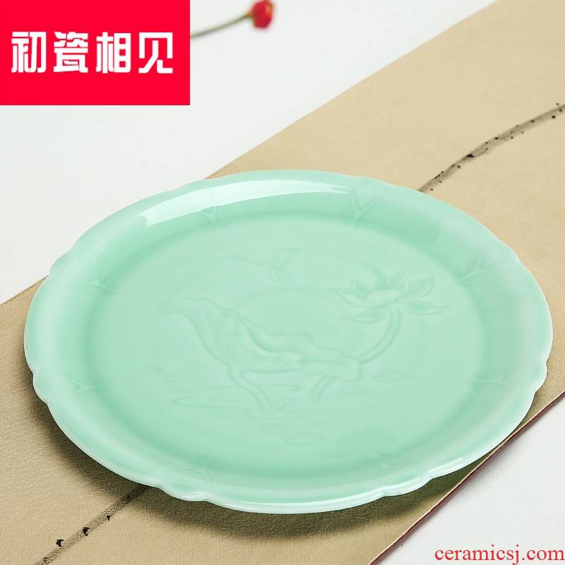 Early meet porcelain ceramic plate of wine wine tray celadon ground round creative plate fruit bowl flat