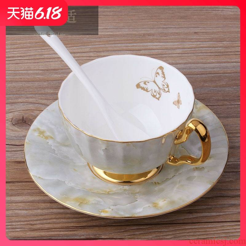 Hold to guest comfortable light key-2 luxury European - style coffee cup suit British household ipads China tea set marble ceramic cups in the afternoon