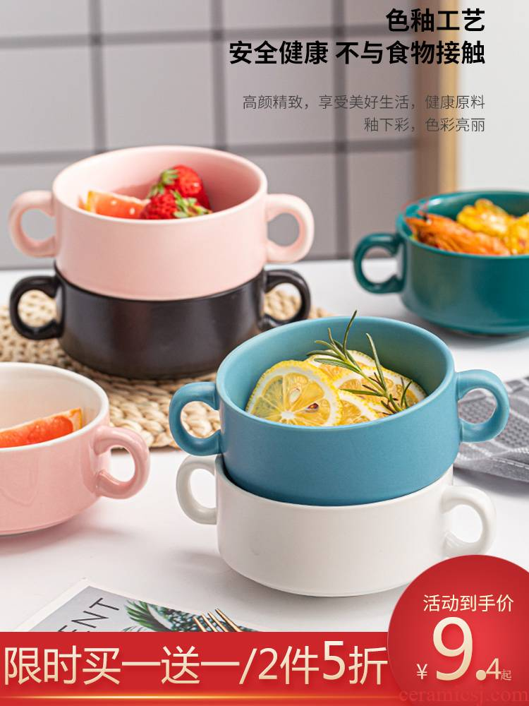 Ceramic baked baked jobs ears roasted bowl of rice bowls household tableware dessert salad bowl bowl mercifully rainbow such use breakfast
