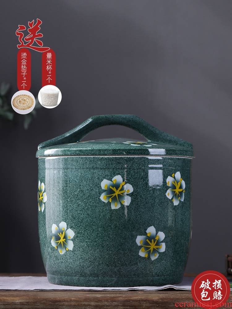 Barrel of jingdezhen ceramics with cover household rice storage box sealing insect - resistant 10/20 kg moisture rice such as pot ricer box