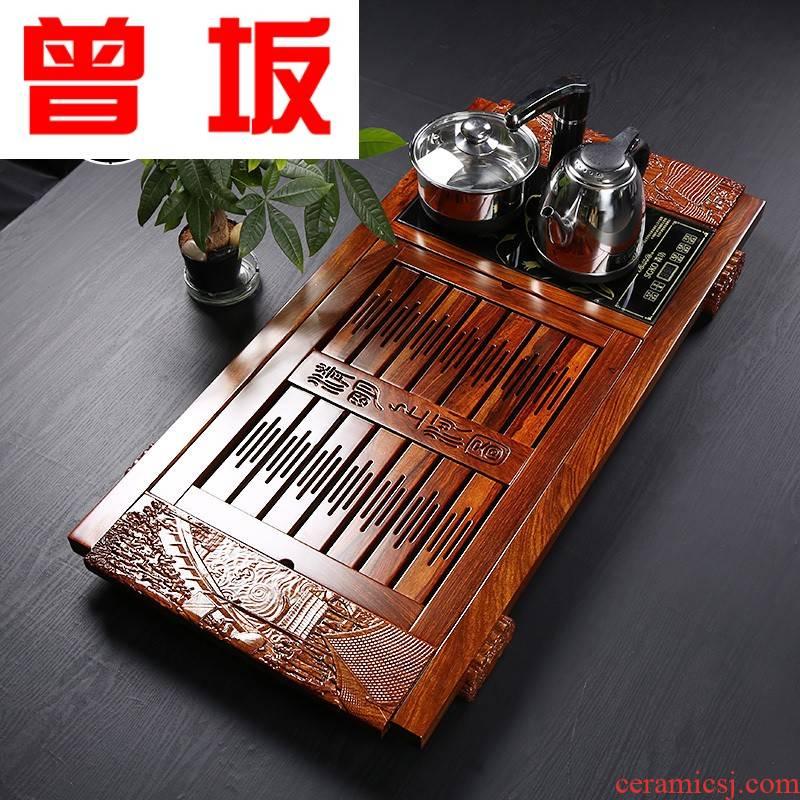 Once sitting hua limu tea tray in induction cooker mixture combination solid wood tea sets tea sea wedding tea set up automatically