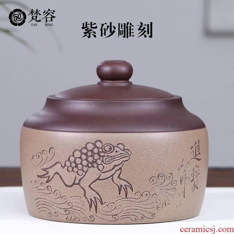 Vatican RongZiYi undressed ore purple sand tea storage tanks seal moisture carving loose tea pu - erh tea and receives little tea